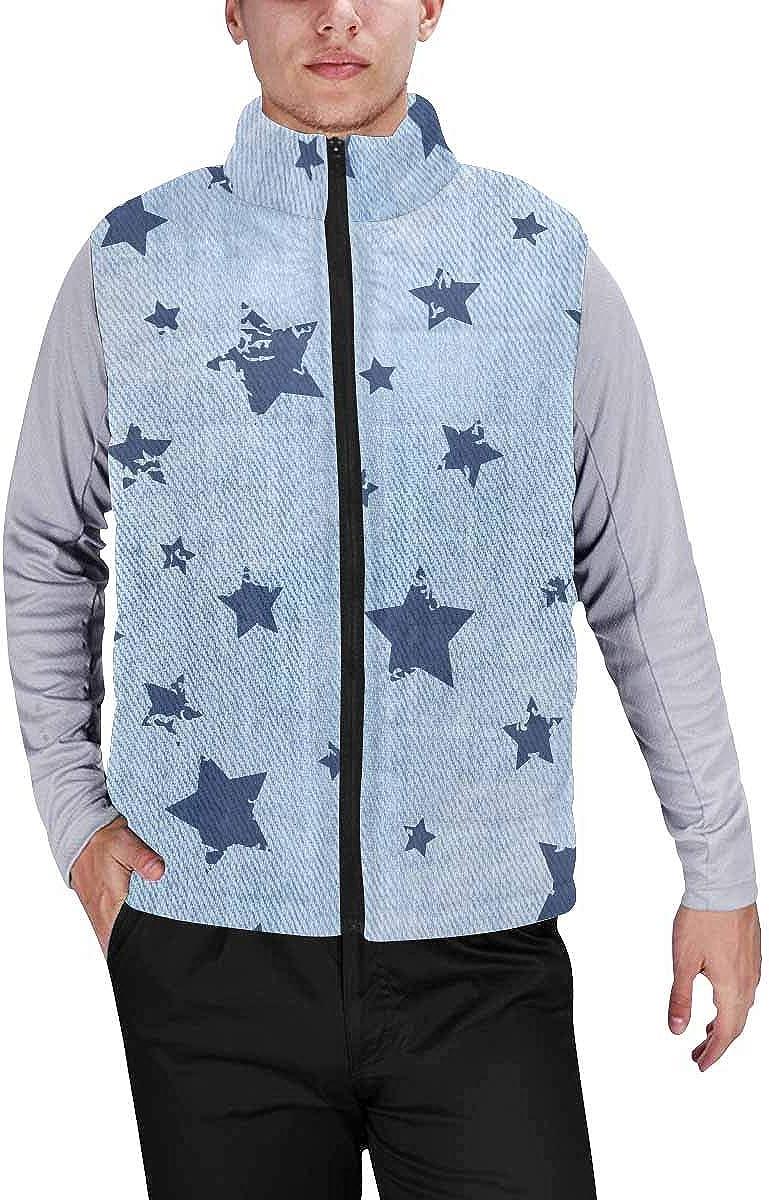 InterestPrint Warm Outdoor Sleeveless Stand Collar Vest for Men Lemon, Flowers and Tropical Leaves