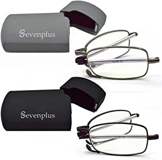 2 PAIR Reading Glasses Blue Light Blocking, Anti UV Glare Eyestrain, Foldable Computer Readers for Women Man