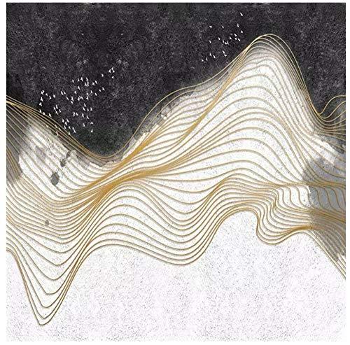 muurschilderingen op maat 3D behang abstract gouden geometrische lijnen vliegen vogel muurschildering PVC zelfklevende slaapkamer woonkamer TV achtergrond muur decoratie 300(w)x210(H)cm