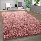 Alfombra Shaggy De Pelo Alto Y Largo Gran Espesor del Hilo En Rosa Pastel Liso, tamaño:70x140 cm