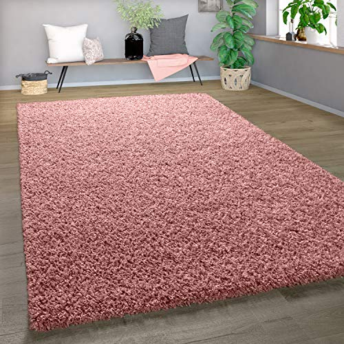 Shaggy Tapis Poils Hauts Poils Longs Haute Qualité Haut Densité De Fil Uni Pastel Rose, Dimension:160x220 cm