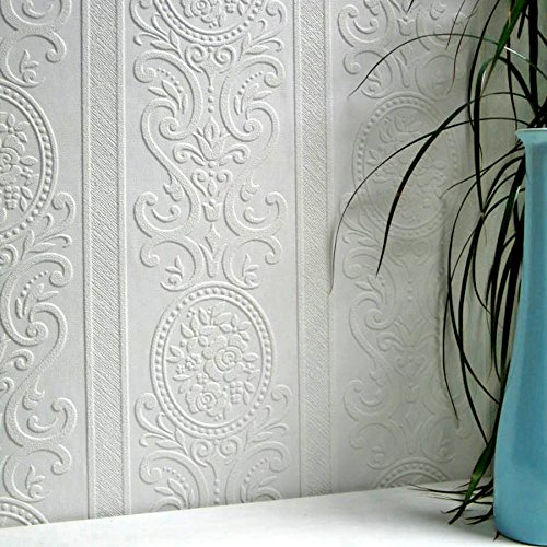 Prägetapete Weiß Überstreichbar Tapete Struktur Vinyl Louisa RD750 [Werkzeug]