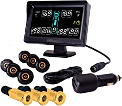 INFITARY RV TPMS Tire Pressure Monitoring System Wireless RV Truck Bus Trailer Real Time Monitoring Tires Pressure Temperature with 6 Cap Sensors Larger LCD Display