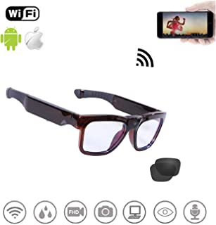 64GB WiFi Video Sunglasses, Live Streaming Videos & Photos from Glasses to Mobile Phone by App with Ultra Full HD Camera and Polarized UV400 Protection Sunglasses
