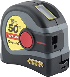 General Tools LTM1 2-in-1 Laser Tape Measure, LCD Digital Display, 50' Laser Measure,..