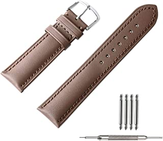 2 Pack Leather Watch Bands, Flyme Aligator Pattern + Genuine Calf Leather Replacement Watch Straps with Spring Bar Tool for Men Women