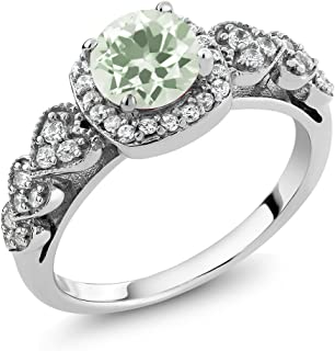 Gem Stone King 925 Sterling Silver Green Prasiolite Women's Ring (1.27 Ct Round Available in size 5, 6, 7, 8, 9)