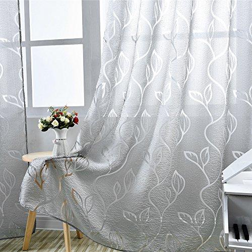 Iraza Transparente Visillos de Panels Modernas Visillos Criba de Ventanas Cortinas con Patrones de Hoja del árbol para Dormitorio (Gris, 100_x_250_cm)
