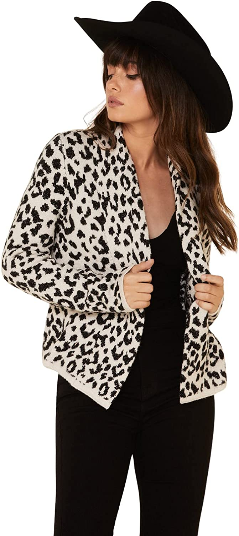 Shyanne Women's Leopard Print Fringe Cardigan Sweater Cream/Black X-Small