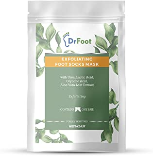 Dr Foot Exfoliating Foot Mask Sock with Urea, Lactic & Glycolic Acid and Aloe Vera