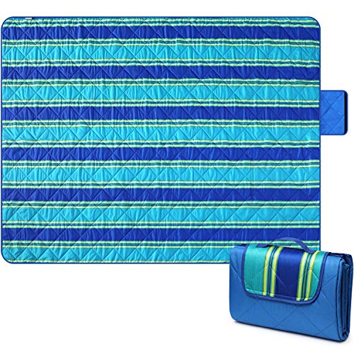 """Bertte Outdoor Blanket Large Beach Camping Picnic Blanket Oversized Hiking Park Waterproof Sand Free Handy Compact Mat Durable Foldable Machine Washable Rug for Travelling, 79"""" x 59"""", Blue Stripe"""