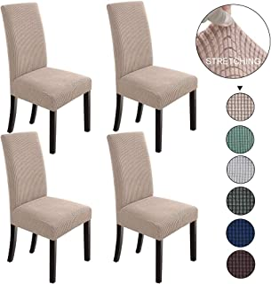 NORTHERN BROTHERS Dining Chair Covers Stretch Chair Covers Parsons Chair Slipcover Chair Covers for Dining Room (Khaki, 4)