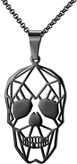 Fashion Blank Hollow Skull Pendant Necklace for Men&Women, Rock Punk Hip Hop Stainless Steel Necklaces Black Silver Gold, ...