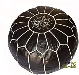 bohemiamarrakech Pouf Black Brown Moroccan Leather Pouf with Tassels for Home Gifts, Wedding Gifts Moroccan Leather Pouf with Tassels for Home Gifts, Wedding -UNSTFED
