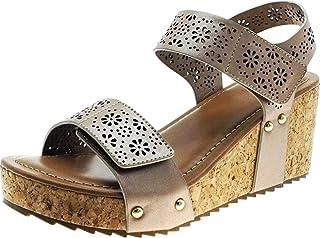 f9cea9fe14f9 Cambridge Select Women s Laser Cutout Strappy Studded Chunky Cork Platform  Wedge Sandal