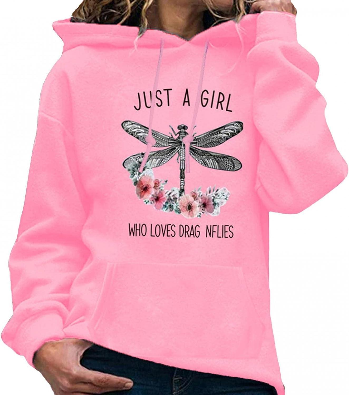 Wadonerful Women Funny Dragonfly Print Hooded Pullover Sweatshir