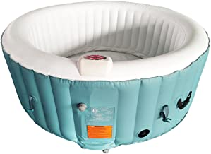 ALEKO HTIR4GRW Round Inflatable Hot Tub Spa with Cover 4 Person 210 Gallon Light Blue and White
