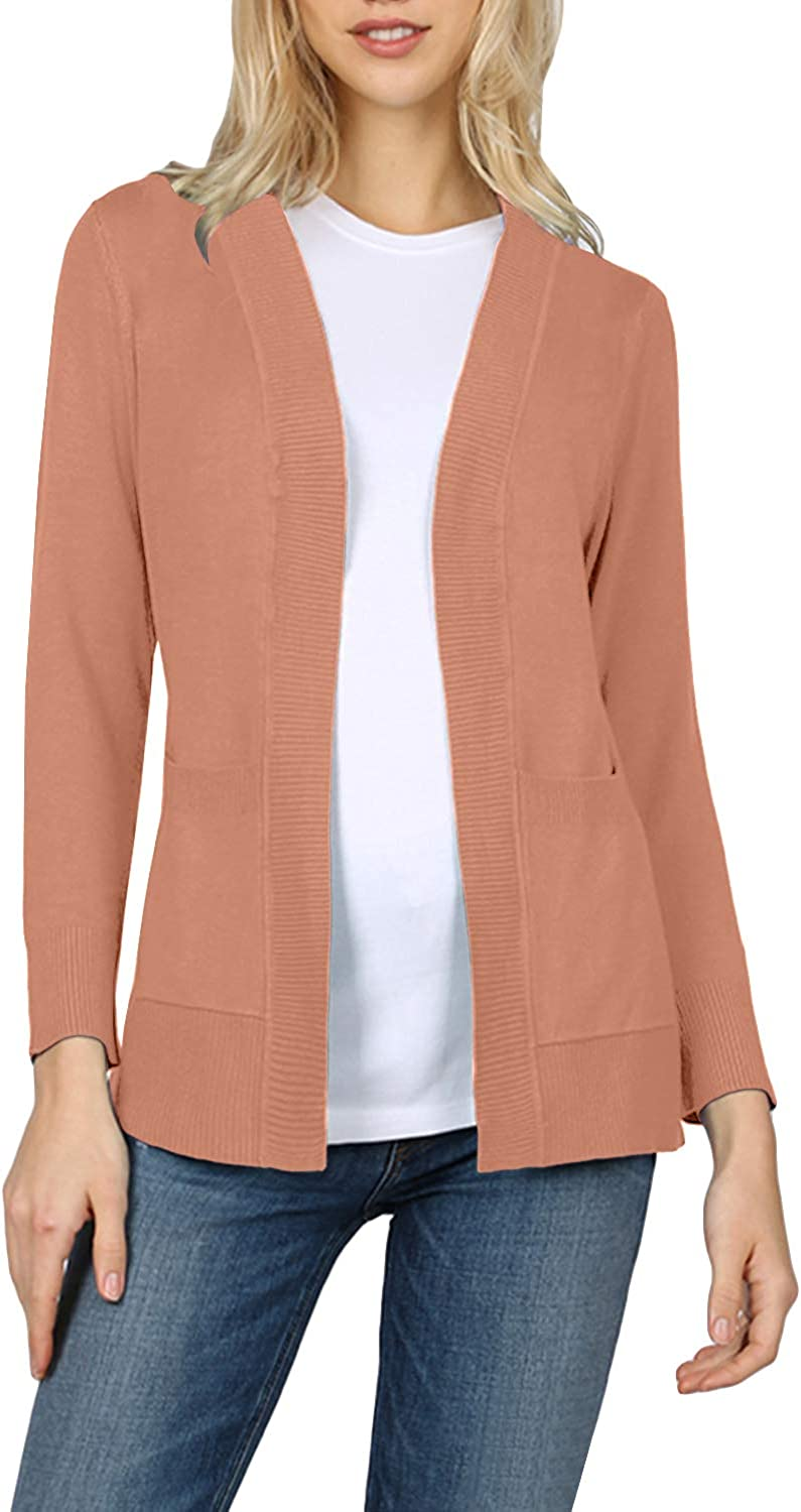 NE PEOPLE Womens Classic Stretchy Ribbed Detailed Side Pockets Open Front Cardigans Sweaters S-3XL