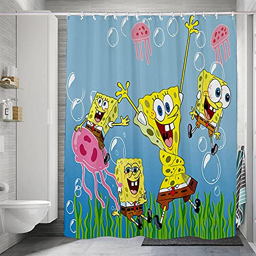 Duschvorhang Polyester Stoff Spongebob Vorhang Badezimmer Verstärktem Saum Wasserdicht Waschbar Antibakteriell Mit 12 Duschvorhangringen Für Dusche Und Badewanne 240X200 cm