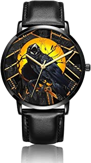 Customized Watercolor Floral Skull Wrist Watch, Black Leather Watch Band Black Dial Plate Fashionable Wrist Watch for Women or Men