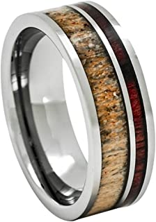 PCH Jewelers Deer Antler Ring Tungsten Wedding Band or Gift Hawaiian Koa Wood 8mm