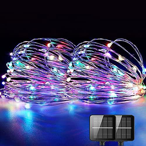 Guirnaldas Luces Exterior Solar, REDSTORM Cadena de Luces Solares, 10 m, 2 x 100 LED, Impermeable, 8 Modos, Decoración de Luz para Jardín, Balcón, Terraza, Patio, Casa, Boda (multicolor)