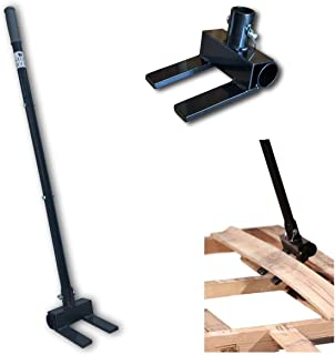 Pallet Buster Deck Wrecker Tool - for Pallet Projects and Deck Disassembly with 3-Piece Pole and Bonus Heavy Duty Leather Work Gloves