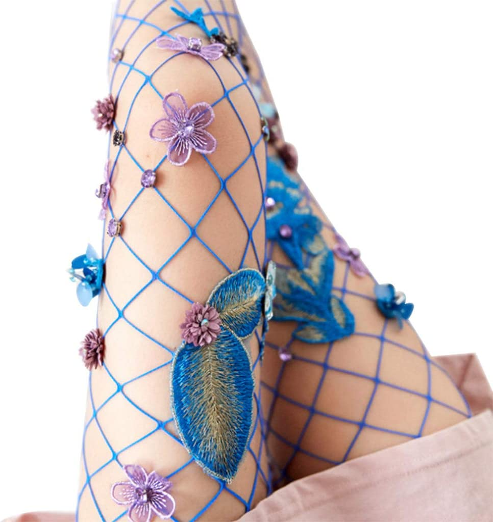 MYBOON Women Sexy Hollow Out Fishnet Pantyhose 3D Embroidered Flower Rhinestone Tights,Thigh High Stockings,Blue
