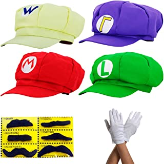 thematys Super Mario Mütze Luigi Wario Waluigi - Kostüm-Set für Erwachsene & Kinder + 4X Handschuhe und 6X Klebe-Bart - perfekt für Fasching, Karneval & Cosplay - Klassische Cappy Cap