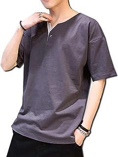 [ボルソ] ヘンリーネック フェイクボタン ビッグシルエット tシャツ (ホワイト、ブルー、グレー、ダークグレー)M〜XXXL