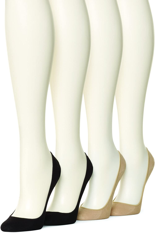 HUE Women's Hidden Cotton Liner Socks, 4 pair pack