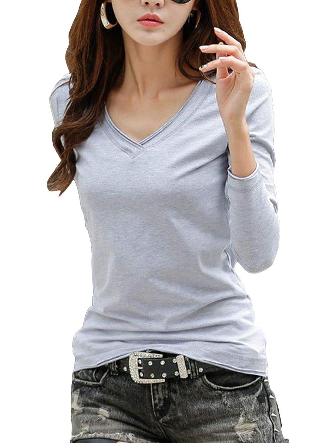 下る盗難マーキー[Happy Honu(ハッピー ホヌ)] tシャツ 半袖 長袖 vネック 大きいサイズ 綿 無地 白 黒 グレー セクシー レディース