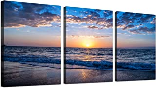Canvas Wall Art for living room Sunrise blue sea view Landscape wall Decor Canvas Prints Artwork ocean Ready to Hang for Modern bedroom bathroom office Home Decoration 16