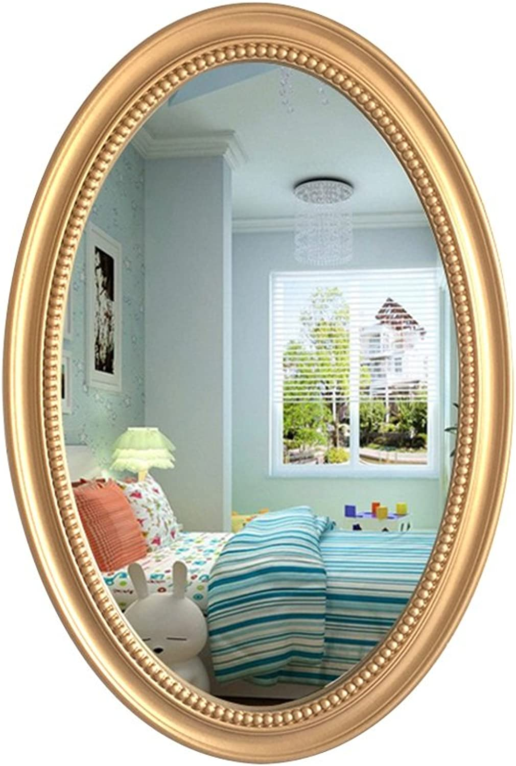 YD Mirror Wooden gold Wall Hanging Exquisitely Carved Moisture-Proof Waterproof Fine Workmanship Thick Hooks Suitable for Many Occasions Creative Vanity Mirror  & (Size   70  50cm)