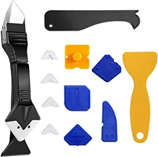 13Pcs Caulking Finishing Tool Kit, 3 in 1 Caulking Tools (Stainless Steelhead) Silicone Sealant Caulk Grout Remover Scraper and Caulk Nozzle Applicator for Kitchen, Bathroom, Window and Sink Joint