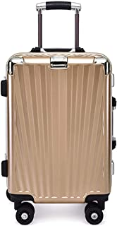 SRY-Luggage Aluminum Frame PC Suitcase, Super Storage Bag, Wheel Travel Rolling Boarding, 24 Inches Durable Carry on Luggage (Color : Gold)