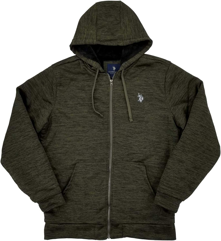 U.S. Polo Assn. Mens Big & Tall Heather Green Fleece Lined Zip Hoodie Sweatshirt