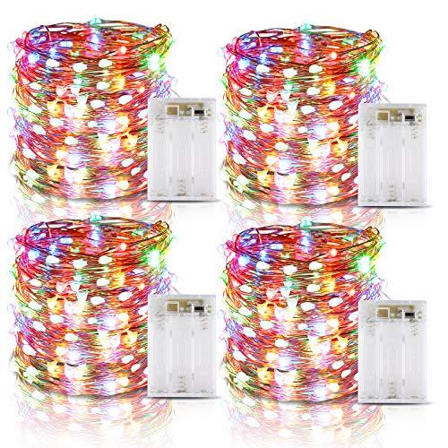 Lichterkette Batterie, 4er 6M 60 LED Lichterkette mit Batterie, IP65 Wasserdichte Kupferdraht Lichterketten mit Timer für Zimmer Party Weihnachten Weihnachtsbaum Halloween Hochzeit Deko (Vierfarbig)