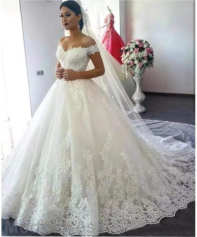 Princess Women's Off Shoulder Lace Wedding Dresses for Bride 20 Wedding  Gowns Court Train Bridal Gowns