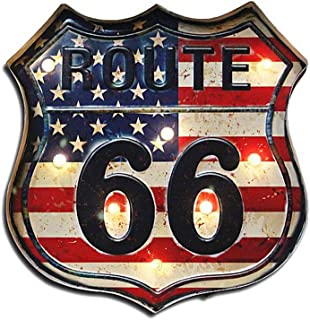 Sweet FanMuLin Metal LED Sign Decorative Bar LED Metal Wall Light Sign (Route 66)
