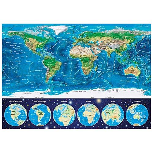 MTAMMD Puzzles Puzzle in Legno per Adulti Mappa del Mondo 500 1000 1500 Pezzi Puzzle creatività Giocattoli per Bambini Adulti Sviluppare La Pazienza Ridurre La Pressione-1000Pieces