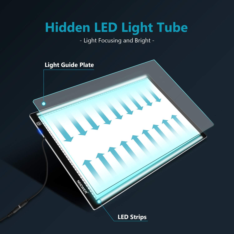 Neewer A2 Caja de luz LED Ultrafina para Dibujar, 3 Niveles de Brillo Regulable con Adaptador de CA de 12 V CC para Dibujar, animación, etc.: Amazon.es: Electrónica