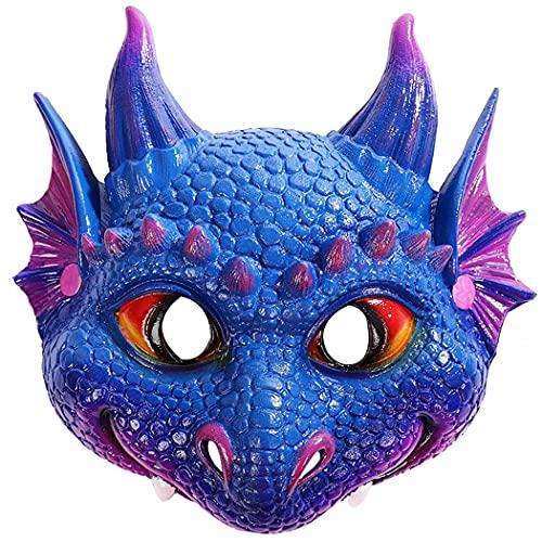 COSYOO Máscara De Dragón para Niños, Divertida, Pequeña, Transpirable, De Piel Sintética Decorativa, Máscara De Fiesta para Carnaval, Piel Sintética Suave, Piel Elástica