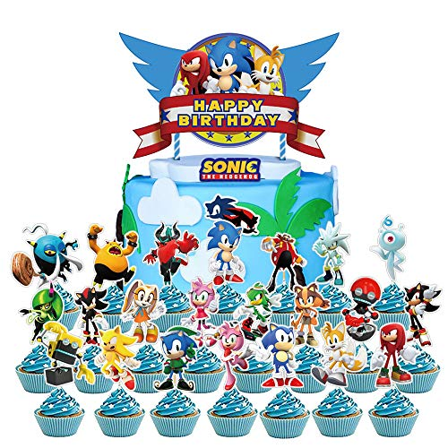 Mbetitony 23 Pcs Sonic Cake Topper Cupcake Toppers for Birthday Party Supplies Decor