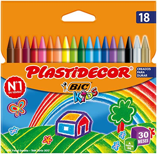 BIC Kids Plastidecor Ceras para Colorear, a partir de 30 meses – Colores Surtidos, Blíster de 18 Unidades