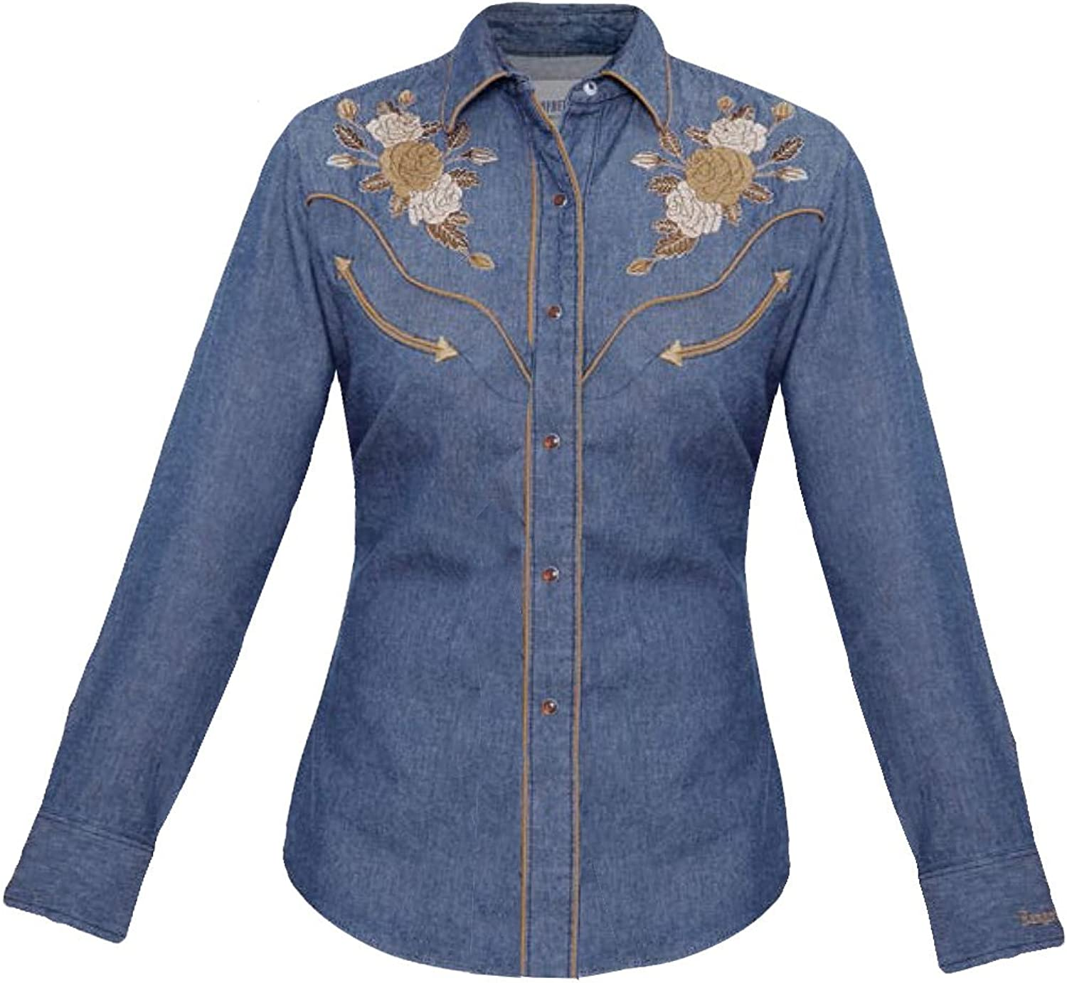 Modestone Women's Embroidered Long Sleeved Fitted Western Shirt Floral Denim bluee