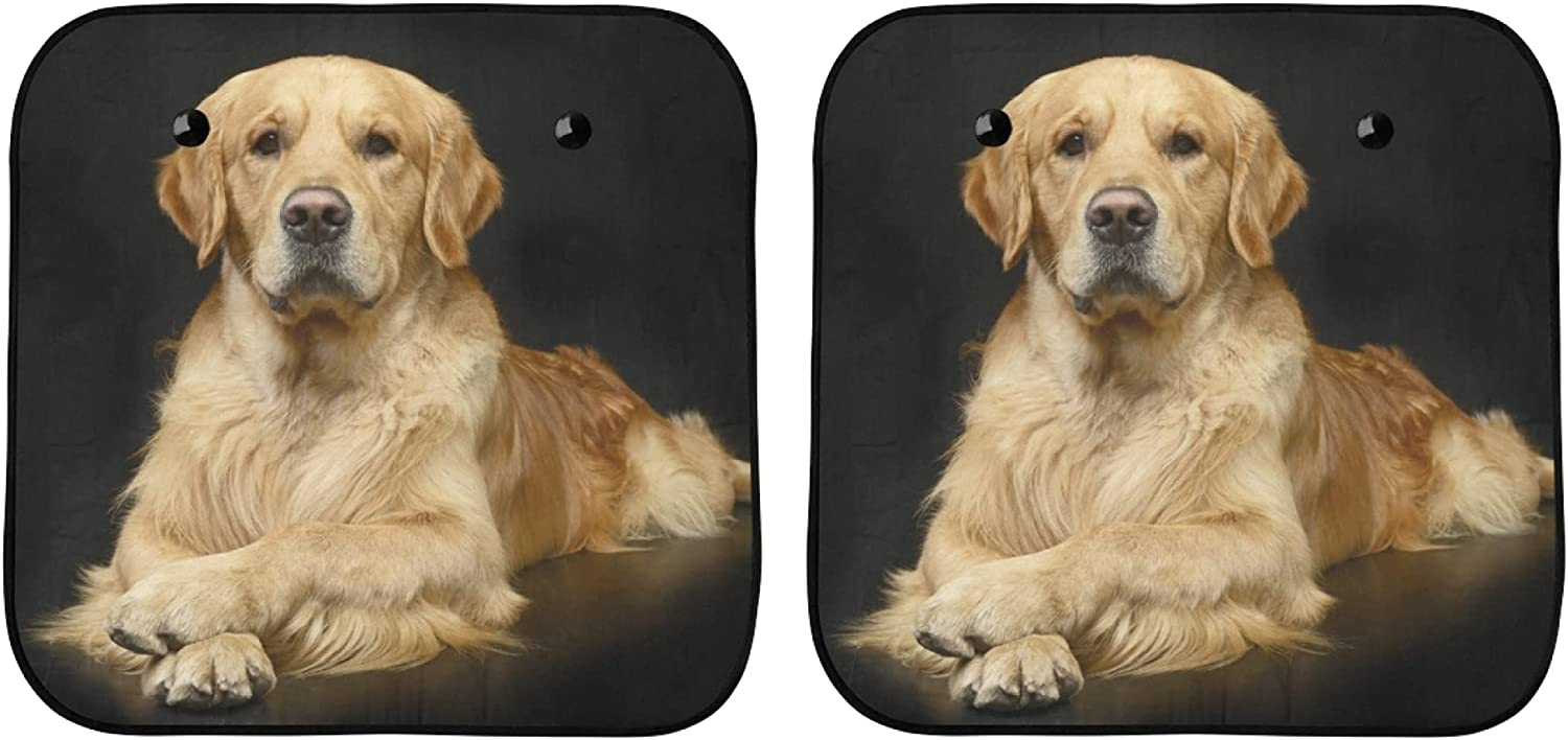 YPink Challenge the lowest price Car Windscreen New product Sun Shade Ou Happy Sitting Golden Retriever
