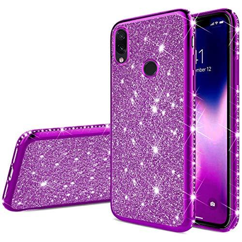 Ukayfe Compatible avec Xiaomi Redmi Note 7 Silicone Coque Bling Brillante Diamant Strass Housse Etui de Protection Glitter Crystal Souple TPU Anti Choc Bumper Case Cover Coquille-Pourpre