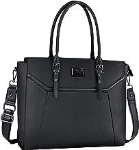 کیف دستی لپ تاپ MOSISO برای خانم ها (سازگار با MacBook 15.6-17 اینچی MacBook و نوت بوک) ، Premium PU چرم کیف شغلی سفر کیف دستی شانه سفر با محفظه ضخیم ضخیم و قابل تنظیم بالا ، مشکی
