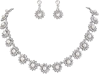Clearine Women's Wedding Bridal Crystal Simulated Pearl Multi Chamomile Flower Collar Necklace Dangle Earrings Set Clear Silver-Tone